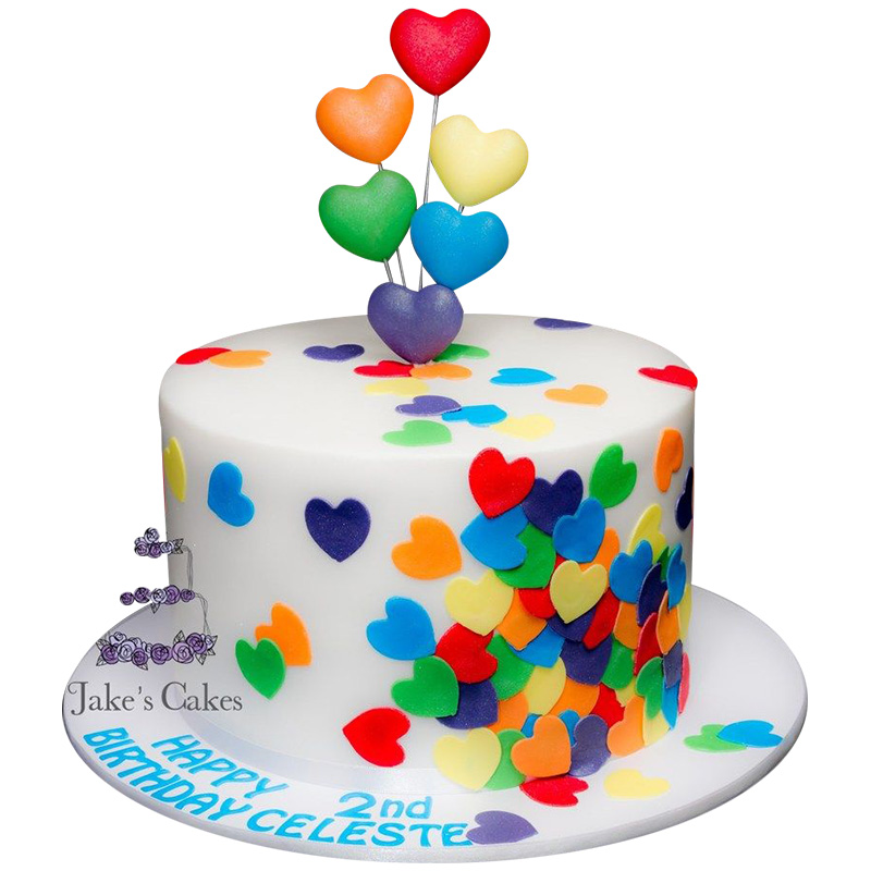 VC 012 Colourful Hearts Cake